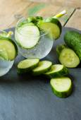 Cold fresh lemonade with cucumber — Stock Photo