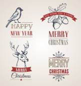 Christmas vintage concept with typography and ribbons — Vecteur