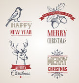 Christmas vintage concept with typography and ribbons — Stock Vector
