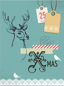 Christmas vintage card, retro air mail concept with deer — Stock Vector