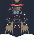 Christmas vintage greeting card, retro concept with deers — Vector de stock