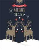 Christmas vintage greeting card, retro concept with deers — 图库矢量图片