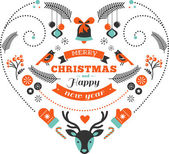 Christmas design heart with birds, elements, ribbons and deer — Stock Vector