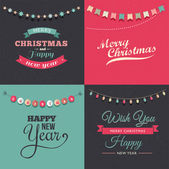Vintage Christmas design with typography and garlands — Stock Vector