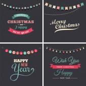 Diseño vintage navidad con tipografía y guirnaldas — Vector de stock