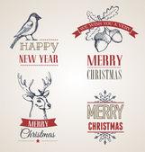 圣诞节概念与排版和丝带 — 图库矢量图片