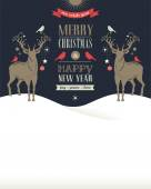 Christmas greeting card, concept with deers — Stock Vector