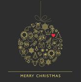 Christmas ball - black and white line icons — Stock Vector