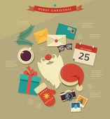 Christmas desktop flat icons design, infographic — Stock Vector