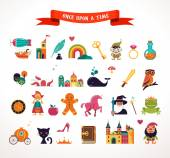 Collection of fairy tale elements, icons — Stock Vector