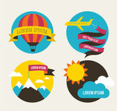 Air balloon, sun, and airplane backgrounds — Vetorial Stock