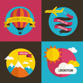 Air balloon, sun, and airplane backgrounds — Stock Vector