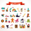Collection of fairy tale elements, icons — Stock Vector #58373557