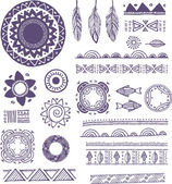Tribal, Bohemian Mandala background with round ornaments, patterns and elements — Stock Vector