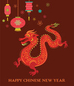 Chinese New Year background with red dragon — Stock Vector