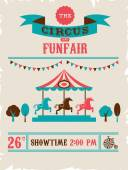 Vintage poster with carnival, fun fair, circus vector background — Stock Vector