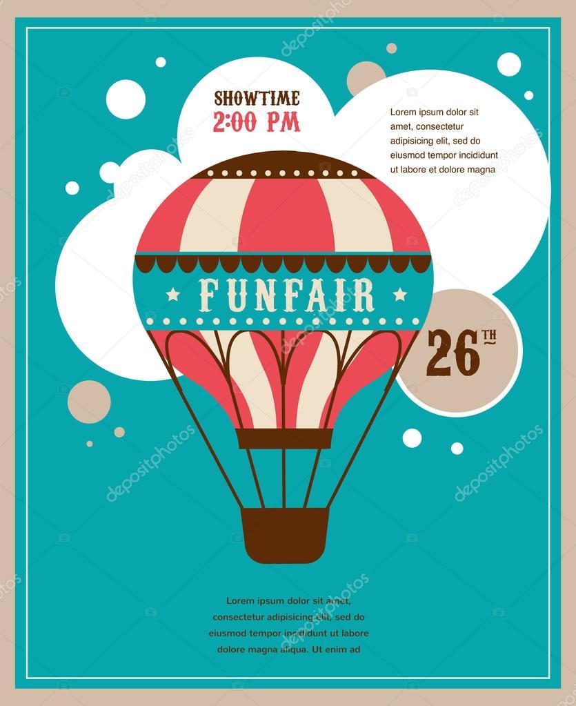affiche avec ballon air vintage f te foraine le d cor de vecteur de cirque image. Black Bedroom Furniture Sets. Home Design Ideas