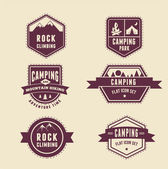 Hiking, camp badges - set of icons and elements — Stock Vector