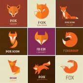 Fox icons, illustrations and elements — Stock Vector