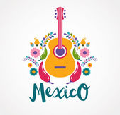 Mexico music and food elements — Stock Vector