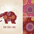 Bohemian, Tribal, Ethnic background with elephant icon and patterns — Stock Vector #68503509