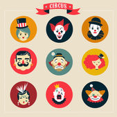 Vintage Circus, freak show icons and hipster characters — Stock Vector