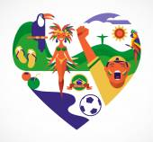 Brazil love - heart with a set of icons — Stock Vector