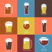 Collection of flat vector Beer glasses — Vector de stock