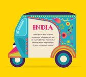 Индия - фон с узорными рикша — Cтоковый вектор