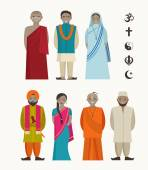 Indian people - different indian religious — Stock Vector