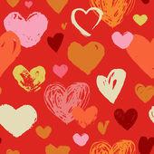 Naadloze rode hand getrokken doodle patroon met hart — Stockvector