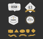 Hand drawn, inked hipster vintage retro labels and logo — Stock Vector