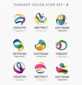Set of trendy abstract, vibrant and colorful icons — Stock Vector