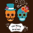 Mexican wedding invitation with two hipster skulls — Stock Vector #76579567
