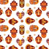 African masks pattern — Stock Vector