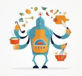 Multitasking robot kock bakning och matlagning — Stockvektor