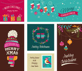 Merry Christmas Design Greeting cards - doodle illustrations — Stock Vector