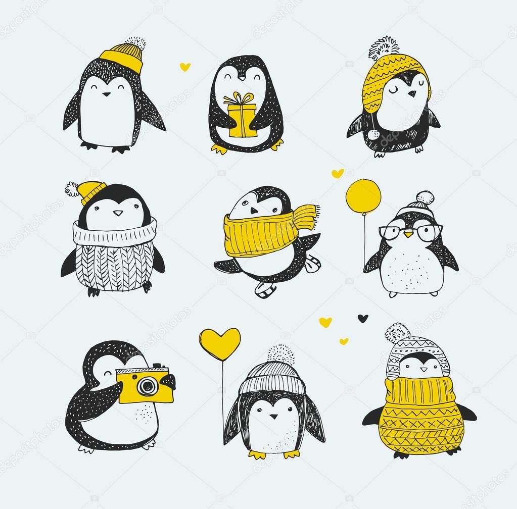 Рисунки новогодних пингвинов