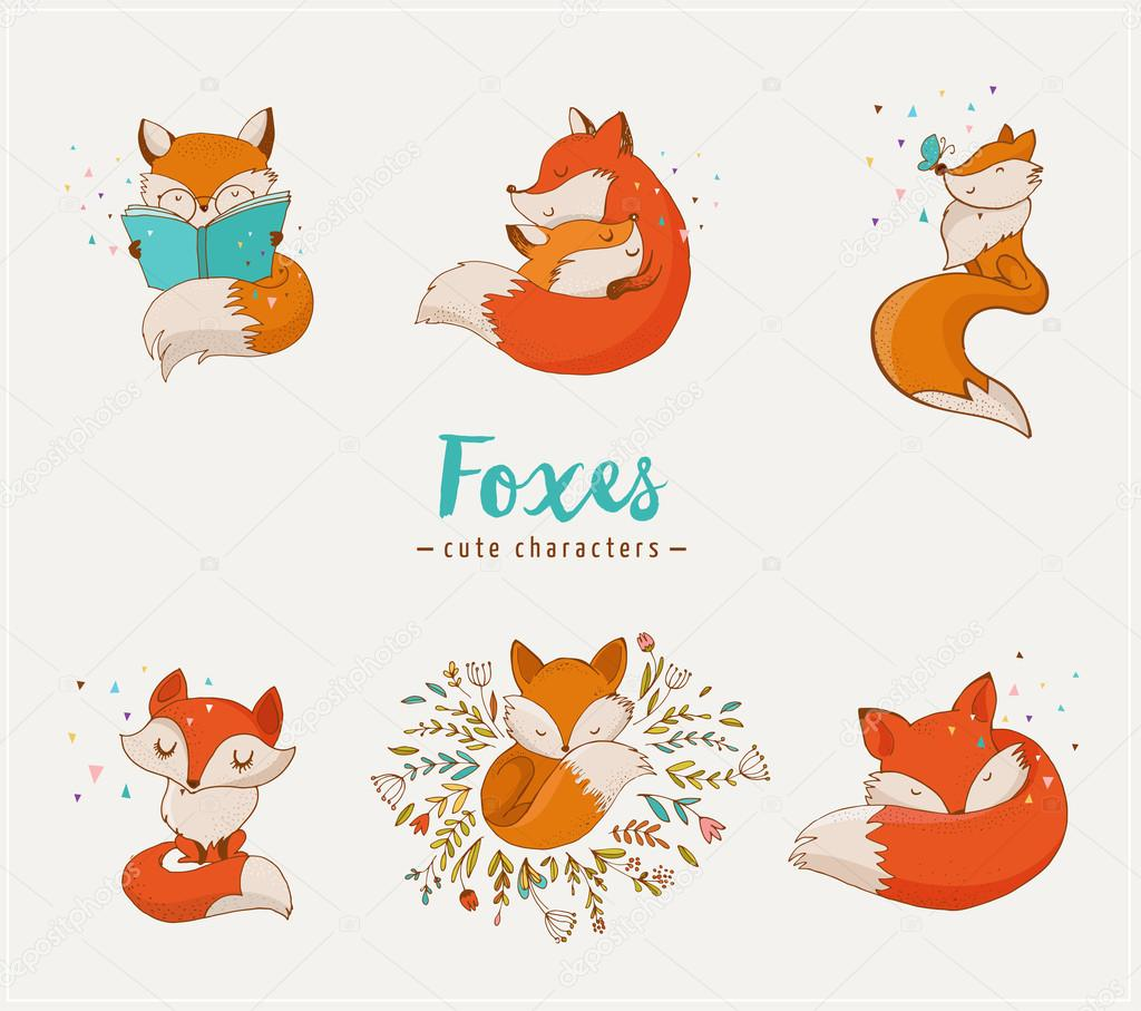 fox characters cute lovely illustrations � stock vector