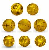 Sport balls golden collection — Stock Photo