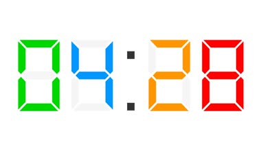 Digital clock full 24h time-lapse - colorful — Stock Video