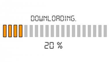 Downloading progress bar - digital orange — Stock Video