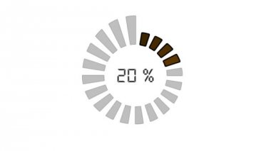 Progress bar - digital style, radial design, increasing size and color — Video Stock
