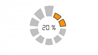 Progress bar - digital style, radial design, orange on white — Wideo stockowe