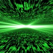 Matrix 3d - flying through energized cyberspace, light on the ho — Stock Photo #65171699