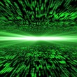Matrix 3d - flying through energized cyberspace, light on the ho — Stock Photo #65172045