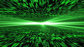 Matrix 3d - flying through energized cyberspace, light on the ho — Stock Photo