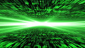 Matrix 3d - flying through energized cyberspace, strong light on — Stock Photo