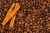 Coffee, cinnamon, star anise background — Stock Photo