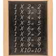 Multiplication table handwritten with white chalk on school blac — Stock Photo #70638507